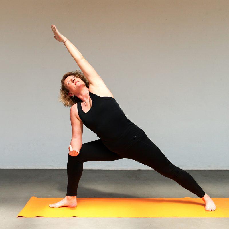 Hatha Yoga yogalessen les volgen staande houdingen en oefeningen bij Pristine Yoga en Pilates van lerares Nancy Adams in Waalwijk Tilburg Noord-Brabant